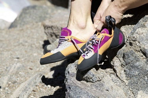 Women's rock climbing shoes.