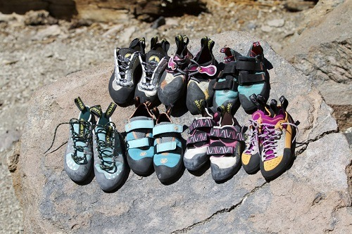 Different rock climbing shoes.