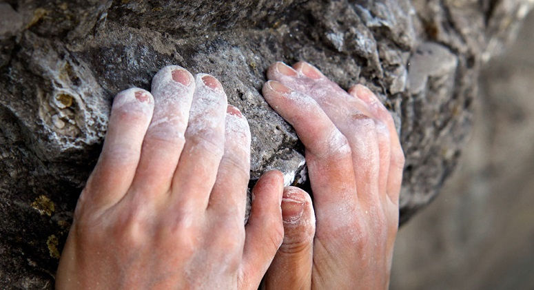 Climbing Chalk On Hands